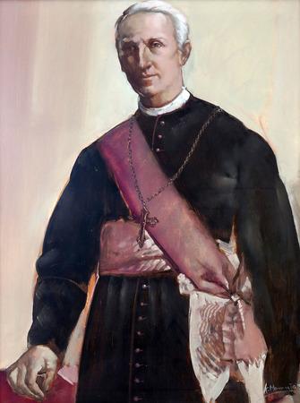 sainthood: Joseph Stadler, Vrhbosnian Archbishop, painting in the Church of Saint Aloysius in Travnik, Bosnia and Herzegovina on June 11, 2014. Editorial