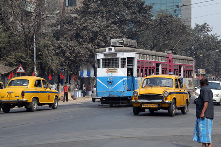 Traditional tram downtown Kolkata on February 08, 2014. Kolkata is the only Indian city with a tram network, which is operated by the Calcutta Tramways Comp.