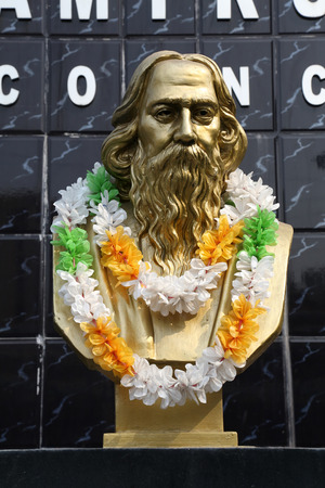 tagore: Monument of Rabindranath Tagore on February 10, 2014 in Kolkata, India, he became the first non-European to win the Nobel Prize in Literature in 1913.