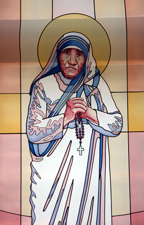 Stained glass window with the image of Mother Teresa in the Memorial House in Skopje, Macedonia on May 17, 2013