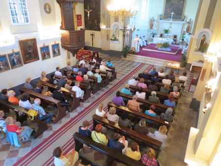 patron of europe: Mass for pilgrims in the Catholic Church Saint Jerome. Kotor Bay is also known as the Bay of Saints, on June 7, 2012, in Herceg Novi, Montenegro Editorial