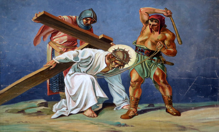 3rd Stations of the Cross, Jesus falls the first time Archivio Fotografico