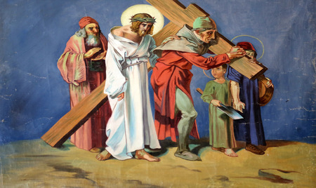 5th Stations of the Cross, Simon of Cyrene carries the cross in the Church of St. Aloysius in in Travnik, Bosnia and Herzegovina on June 11, 2014. Editorial