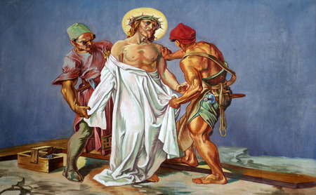 10th Stations of the Cross, Jesus is stripped of His garments Stock Photo