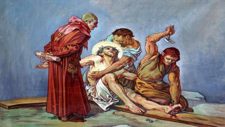 11 十字架、十字架刑: イエスは十字架に釘付けされます。