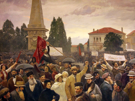museum rally: Rally of the Ilinden Organization in Sofia painting by T.S. Nikolaevich, Museum of the Macedonian Struggle for sovereignity and independence in Skopje, Macedonia on May 17, 2013