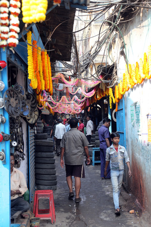 bazar: Auto parts store on Malik bazar in Kolkata, India on February 08, 2014
