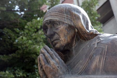 beatification: Mother Teresa monument in Skopje on May 17, 2013. Mother Teresa monument Humanitarian Worker and Nobel Prize Winner in Skopje, Macedonia.