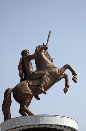 alexander great: Statue of Alexander the Great in downtown of Skopje, Macedonia on May 17, 2013