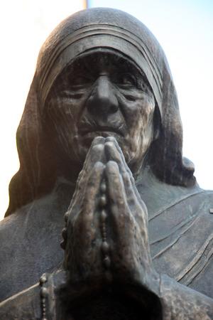 beatification: Mother Teresa monument in Skopje on May 18, 2013. Mother Teresa monument Humanitarian Worker and Nobel Prize Winner in Skopje, Macedonia.