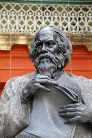 tagore: Monument of Rabindranath Tagore on February 15, 2014 in Kolkata, India, he became the first non-European to win the Nobel Prize in Literature in 1913.