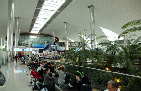 Recreation area in International airport on February 18, 2012 in Dubai, UAE. The airport is major aviation hub in the Middle East with max throughput of 80 millions passengers per year Editorial
