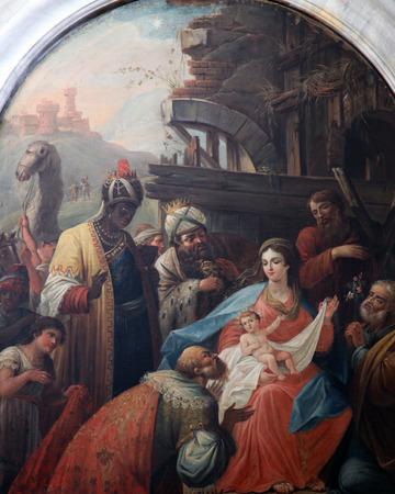 guardería: Escena de la Natividad, la Adoración de los Reyes Magos, la iglesia católica de Saint Eustache en Dobrota, Montenegro, el 09 de junio 2009