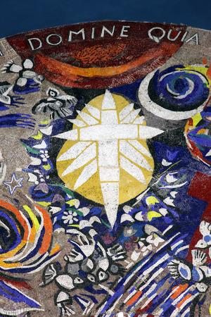flagellation: Cross, Catholic Church Saint Eustache in Dobrota, Montenegro, on June 09, 2009
