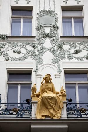 st charles: Principessa Libuse statua sul St. Charles Street, Praga, Repubblica Ceca