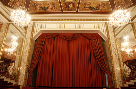 theater stage: Old theater stage and red curtain