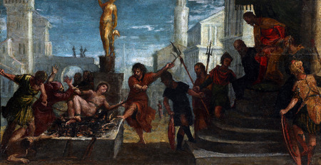 martyrdom: Paolo Veronese: Martyrdom of St. Lawrence, exhibited at the Great Masters renesnse in Croatia, opened December 12, 2011. in Zagreb, Croatia