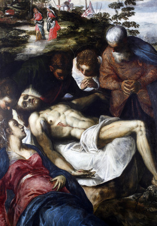 lamentation: Jacopo Tintoretto: The Lamentation of Christ, exhibited at the Great Masters renesnse in Croatia, opened December 12, 2011. in Zagreb, Croatia Editorial
