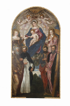 Jacopo Tintoretto: Madonna and Child, St. Catherine, St. Mary Magdalene, St. Peter, St.. Dominic, St. Paul and St. Andrew exhibited at the Great Masters renesnse in Croatia, opened December 12, 2011. in Zagreb, Croatia