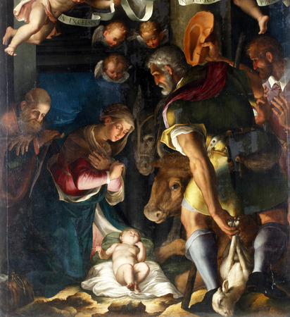 Unknown artist: Nativity, Adoration of the shepherds, exhibited at the Great Masters renesnse in Croatia, opened December 12, 2011. in Zagreb, Croatia Redakční