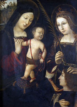 Follower of Bernardin Pinturicchi: Madonna and Child, St. Catherine and the donor, exhibited at the Great Masters renesnse in Croatia, opened December 12, 2011. in Zagreb, Croatia