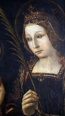 Follower of Bernardin Pinturicchi: Saint Catherine of Alexandria , exhibited at the Great Masters renesnse in Croatia, opened December 12, 2011. in Zagreb, Croatia