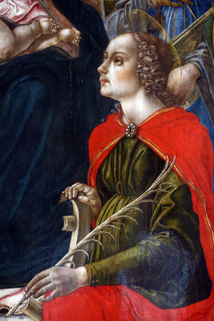 Bartolomeo Vivarini: Saint Catherine of Alexandria, exhibited at the Great Masters renesnse in Croatia, opened December 12, 2011. in Zagreb, Croatia