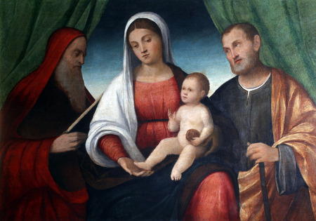 Francesco Bissolo: Holy Family with Saint Jerome, exhibited at the Great Masters renesnse in Croatia, opened December 12, 2011. in Zagreb, Croatia Editorial