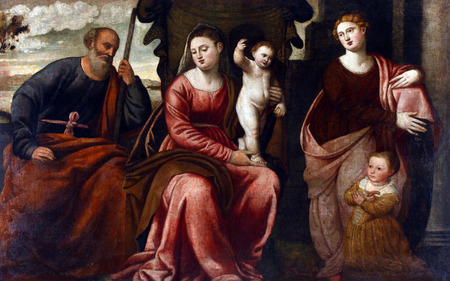 Bernardino Licinio: Holy Family with Saint Catherine of Alexandria and unknown girl, exhibited at the Great Masters renesnse in Croatia, opened December 12, 2011. in Zagreb, Croatia