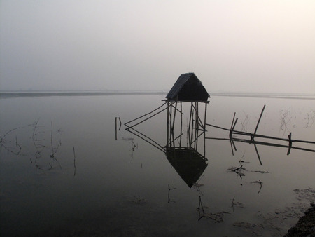 modest: Modest straw hut of Indian fishermen in the Ganges, Sundarbans, West Bengal, India