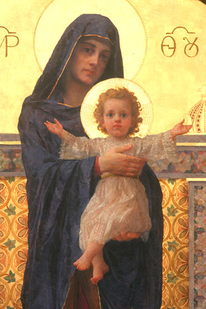 Blessed Virgin Mary with baby Jesus Editorial