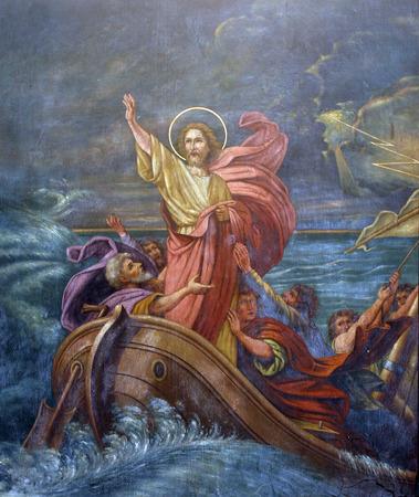 Jezus kalmeert een storm op zee Redactioneel