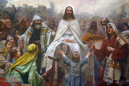 Jesus triumphal entry into Jerusalem Stock Photo - 32535532