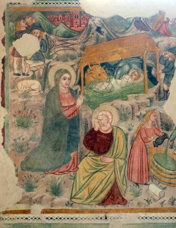 christmas religious: Nativity Scene, Fresco painting Editorial