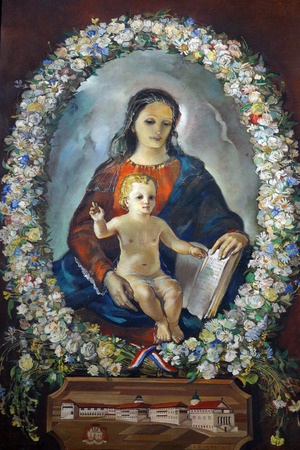 god figure: Blessed Virgin Mary with baby Jesus Editorial