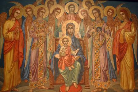 vierge marie: Vierge Marie avec l'enfant J�sus et le ch?ur des anges