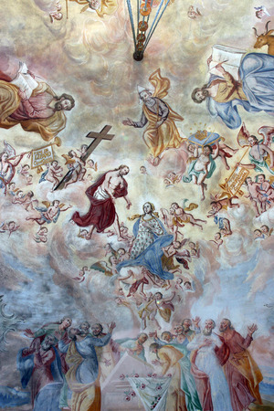 Holy Trinity and All Saints, fresco painting on the ceiling of the church