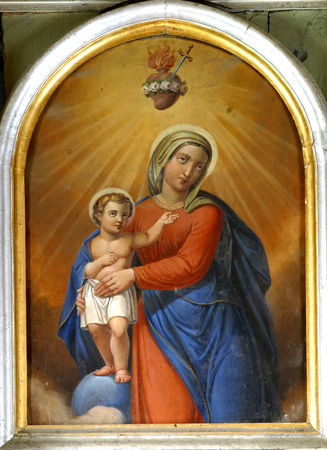 saint mary: Blessed Virgin Mary with baby Jesus Editorial