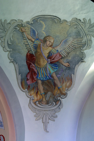 Archangel Michael, fresco painting on the ceiling of the church