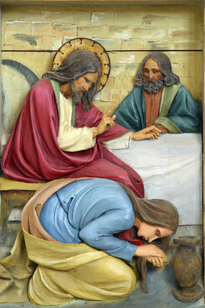 Mary Magdalene washes the feet of Jesus