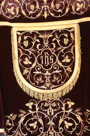 vestment: Golden embroidered church vestments
