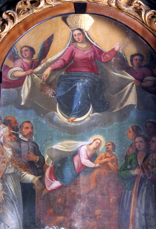 enthroned: Enthroned Virgin and Child with saints and angels