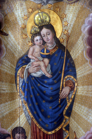 virgin mary: Blessed Virgin Mary with baby Jesus Editorial