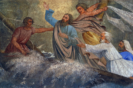 Jesus Calms a Storm on the Sea Stock Photo