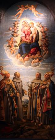 vaderlijk: Madonna en kind in de heerlijkheid van de hemel met de St. Bonaventure, St. Franciscus van Assisi, St. Antonius van Padua en St. Louis