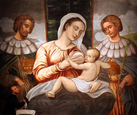 Madonna and Child Saint Cosmas and Damian Editorial