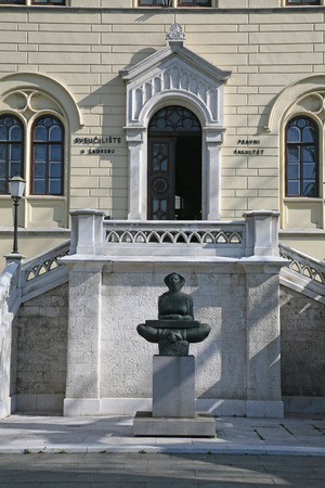 History of the Croats sculpture of a woman, Zagreb, Croatia Editorial