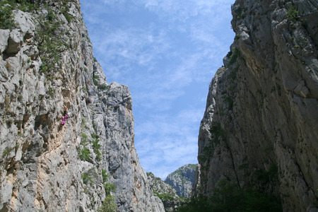 paklenica: Climbing, rock wall in Paklenica national park Stock Photo