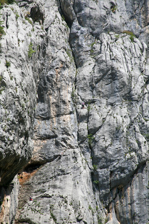 Climbing, rock wall in Paklenica national park Stock Photo