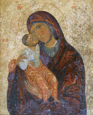 赤ん坊のイエスと聖母マリア 写真素材